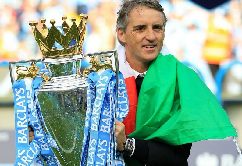 Roberto Mancini guided Man City to their first ever Premier League title.